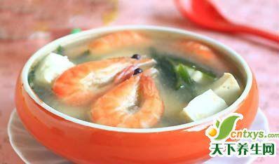 养生厨房:防乳腺癌—鲜虾豆腐海带汤